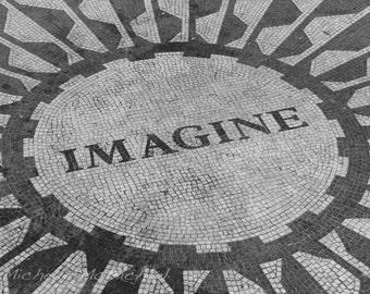 Central Park, New York Photography, 5x7, 8x12 Fine Art Print, Imagine mosaic, Strawberry fields, home decor, Black and white