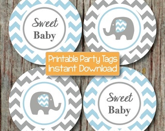Baby Shower Decorations Printable Party DIY Cupcake Toppers Instant Download Elephant Powder Blue Grey Chevron Sweet Baby Boy 200