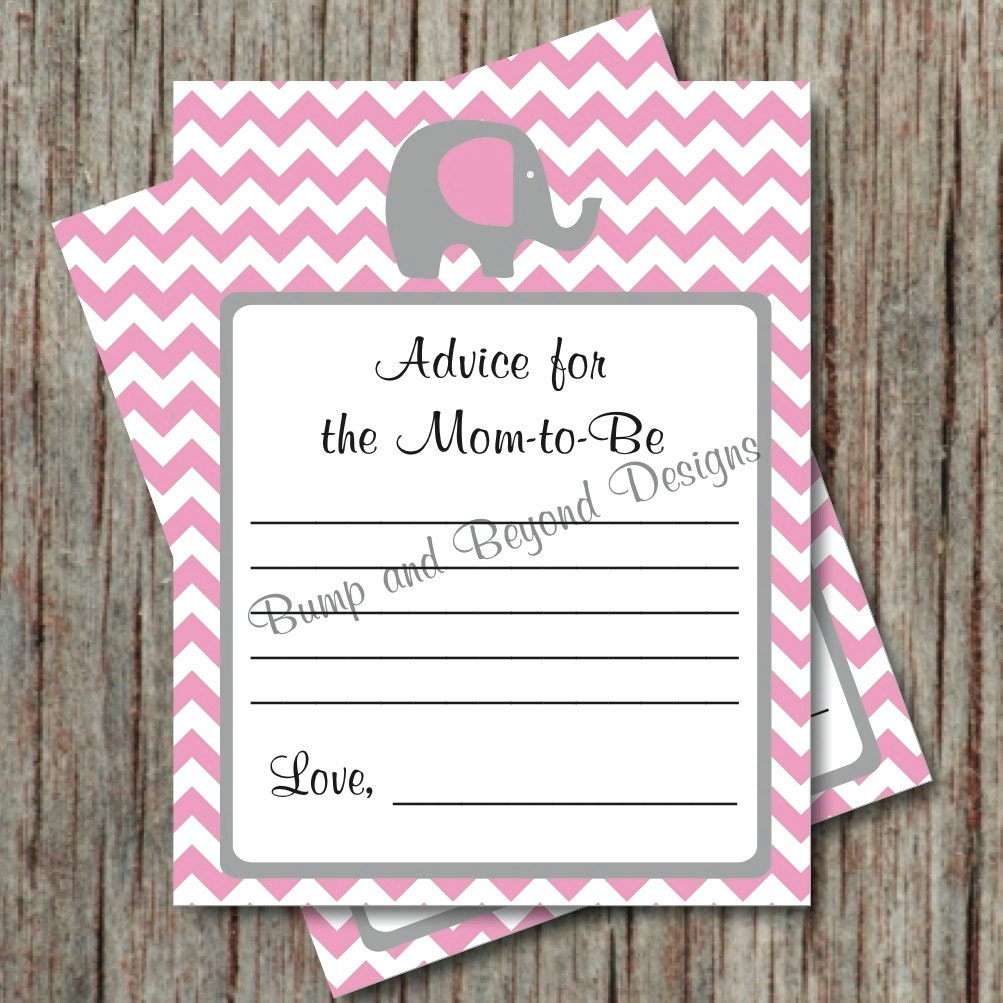 Baby Shower Mom To Be Advice Cards Elephant Chevron Printable