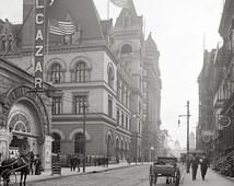 Brooklyn,  1906.Post Office and Eagle warehouse, Brooklyn, NY. Old Brooklyn photo,  NYC wall decor.