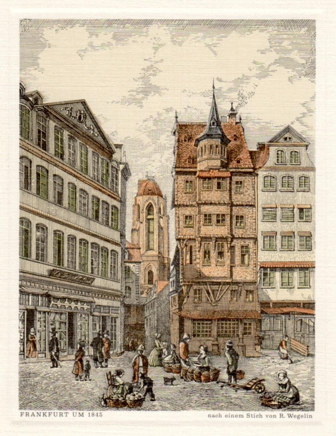 Frankfurt in 1845 Germany Antique Lithograph Vintage Print
