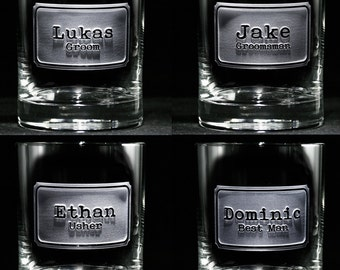 Personalized Groomsman Whiskey Scotch Glasses, Groomsmen Gifts, Set of 11