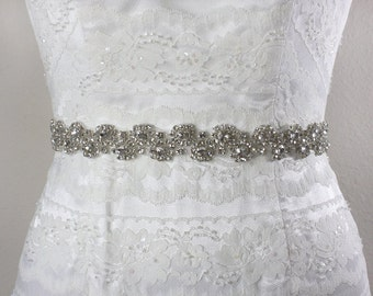 ISABELLA - Crystal Rhinestone Bridal Sash, Wedding Beaded Belt, Rhinestone Belts, Rhinestone Wedding Sash