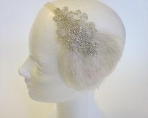 SILVER HEADPIECE, Silver beaded headband, Feather headband, Ivory feather, Black feather, custom feather colors,  1920s headband, fascinator