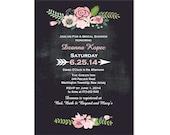 Chalkboard Bridal Shower Invitation with Pink Flowers DIY PRINTABLE Digital File or Print (extra)