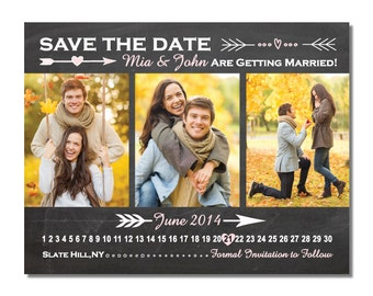Chalkboard 3 Photo Save The Date Magnet or Card DIY PRINTABLE Digital File or Print (extra)