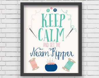 Home Decor Nursery Wall Art - Keep Calm Sewing Print - 8x10