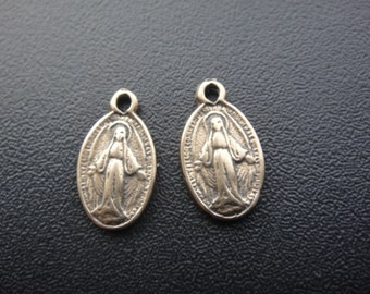 2 pc Solid bronze small Virgin Mary rosary, bronze rosary,  bronze virgin mary