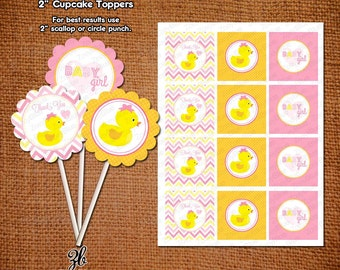 Girl Rubber Ducky Girl Baby Shower Cupcake Toppers Pink Yellow Chevron Zig Zag Pattern- Instant Download Digital File