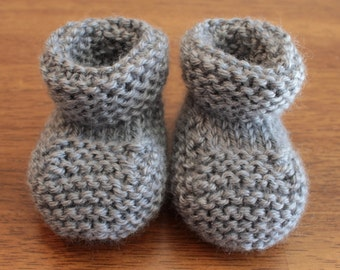 Hand Made Knitted Grey (Heather Grey) Baby Booties - 0 - 3 Months