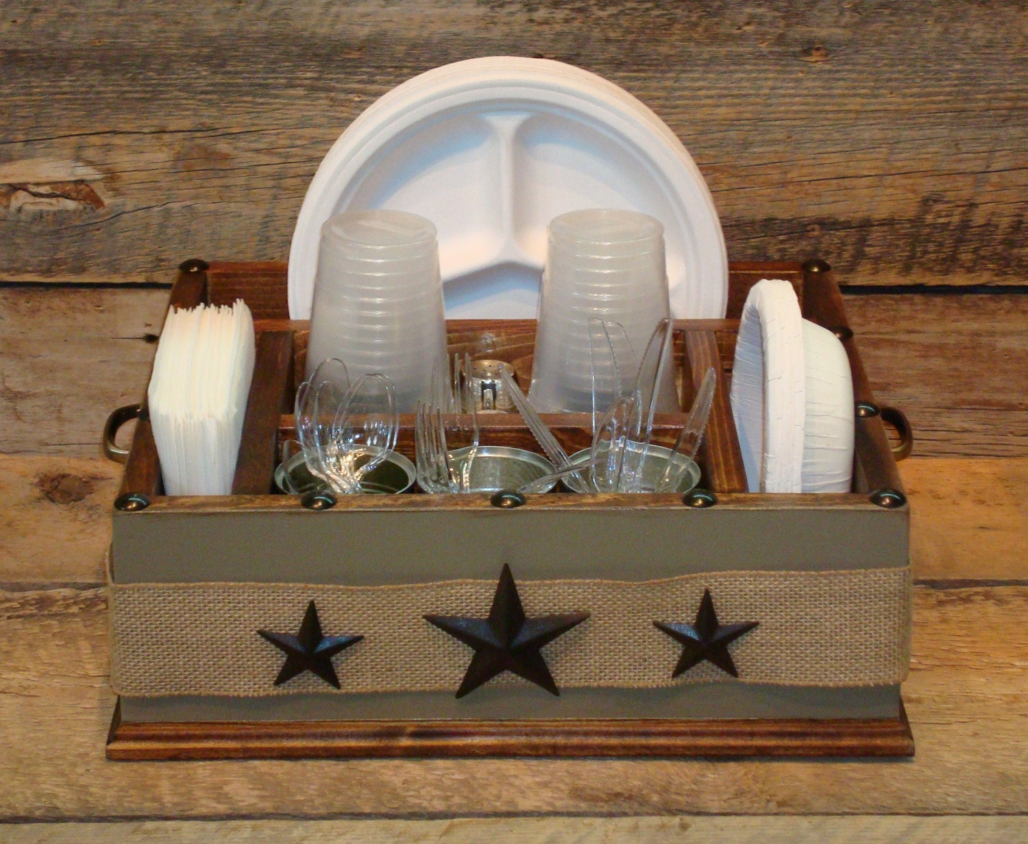 Khaki color with burlap ribbon and metal stars wood utensil for Table utensils