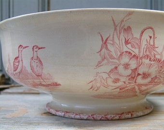 Antique french ironstone rose transferware footed salad serving bowl. BADONVILLER. 1890-1910. Rose red transferware. French transferware.