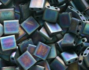 Miyuki Matte Black AB Tila Bead TL-401FR Japanese 2-Hole Square - 10 grams