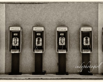 Vintage Style Photograph Telephone Pay Phone 5x7 ART