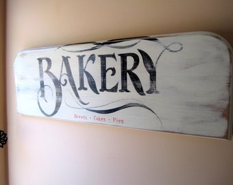 Vintage Bakery Sign - Cottage Kitchen Wall Art - French Country Theme - Rustic Chic Decor - Retro Home