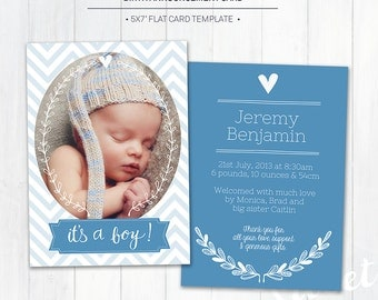 5x7 Birth Announcement Template (Baby Announcement) - Photoshop Template for photographers (BA1B) - INSTANT DOWNLOAD