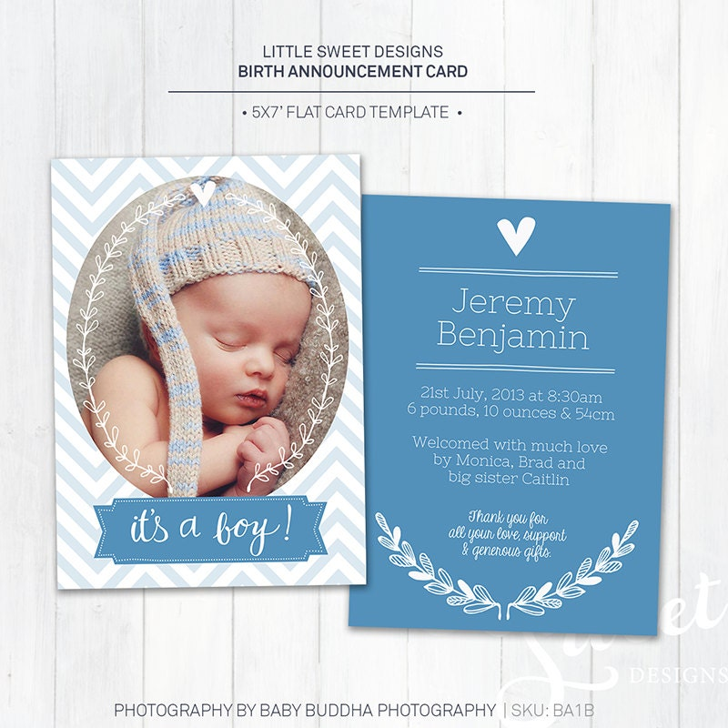 5x7 birth announcement template baby announcement zoom pronofoot35fo Choice Image