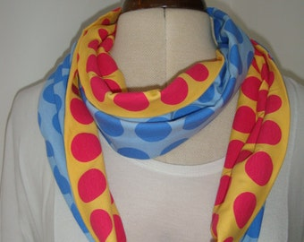 Wonderful and Unsual Polka Dot Spot Infinity Scarf Snood Cowl in Vibrant Blue Yellow and Red