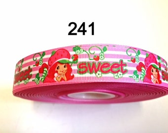 "3 or 5 yard - 7/8"" Sweet Strawberry Shortcake Pink and White Stripe Grosgrain Ribbon Hair bow"