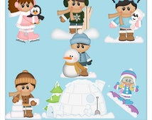 DIGITAL SCRAPBOOKING CLIPART - Winter Fun Kids