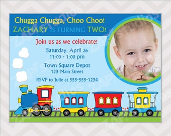 Train Birthday Party Invitation - Printable Train Invitation