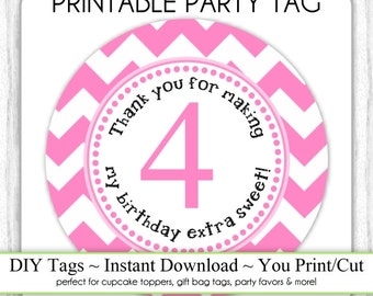 Instant Download - 4th Birthday Printable Party Tag, Birthday Party Tag, DIY Cupcake Topper, You Print, You Cut