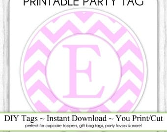 LETTER E Monogram, Chevron Party Tag, Instant Download - Monogram Party Tag, Gray Chevron Monogram, DIY Cupcake Topper, You Print, You Cut