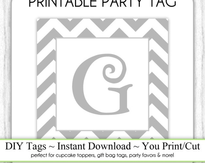 Instant Download - LETTER G, Chevron Party Tag, Monogram Party Tag, Gray Chevron Monogram, DIY Cupcake Topper, You Print, You Cut