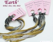 Hand dyed cotton fiber for embroidery, cross stitch - 'Earth'