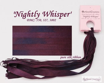 Hand dyed 13 mm wide pure silk ribbon, ruban de soie - 'Nightly Whisper'