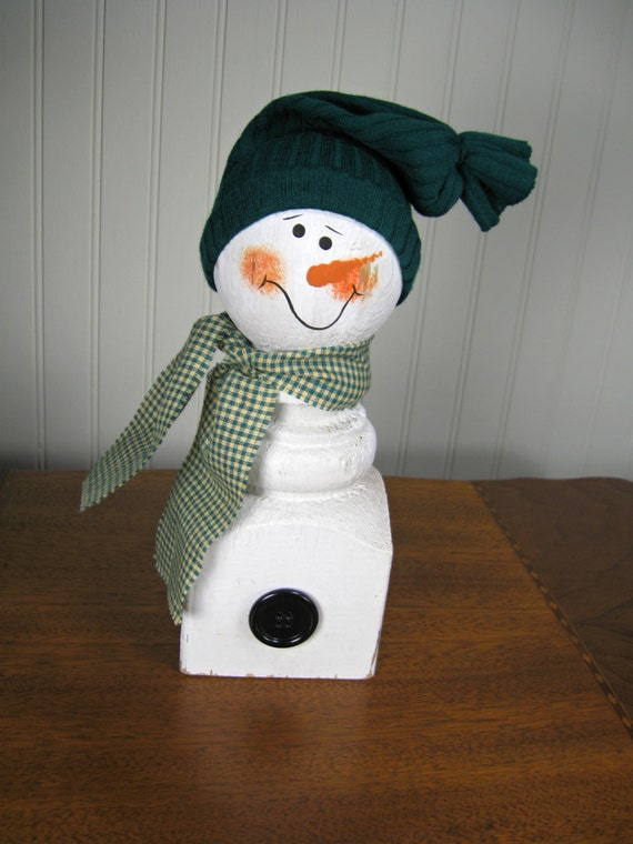 Reclaimed Wood Porch Post Snowman with Sock Hat