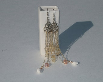 Beach shell, crystal, and stone chandelier earrings