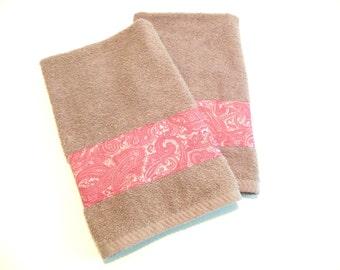 Gray Rose Hand Towels Decorative Bathroom Towels Kitchen Hand Towels Set of 2
