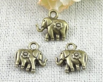 elephant charm-50pcs antiqued bronze calf elephant charm pendant 12×12mm