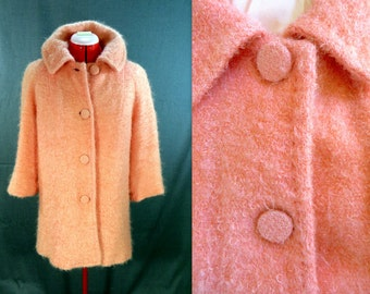 Vintage Bouclé Wool Coat. A-Line Tunic Jacket. Salmon Orange Coral Peach. Fully Lined, 3/4 Length Flared Sleeves. 60s Mad Men Era