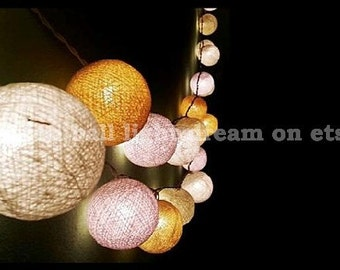 20 Yellow tone cotton balls string lights for wedding decoration,birthday party,bedroom decorative.