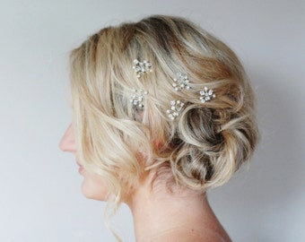 Crystal Hair Pins,Pearl Bridal Hair Pins, Crystal Wedding Hair Accessories, Pearl Crystal Hair Pins, Swarovski Crystal Bridesmaid Hair Pins