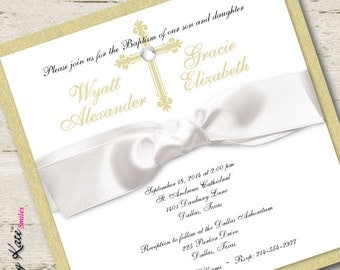 Twin Baptism Invitation Christening Boy and Girl Gold