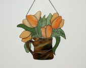 Tulips in a Vase, Tulips stained glass, Ornament,Suncatchers - ArtGlassAnazie