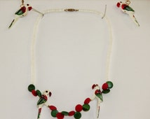 Pretty Delicate White , Green n Red Wooden 80s Parrot Necklace Set