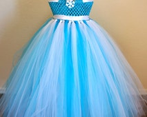 Queen Elsa Tutu Dress- Turquoise & White with a Shimmer Snow Flake.
