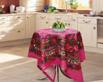 "Cotton tablecloth, 57""x57"", Ukrainian/Russian scarf floral ornaments, Square tablecloth, kitchen tablecloth, pink floral tablecloth"