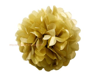 "Metallic Gold Tissue Paper Pom Poms * Small Tissue Paper Flowers 6"" Decorations for wedding,bridal shower,birthday party,nursery"