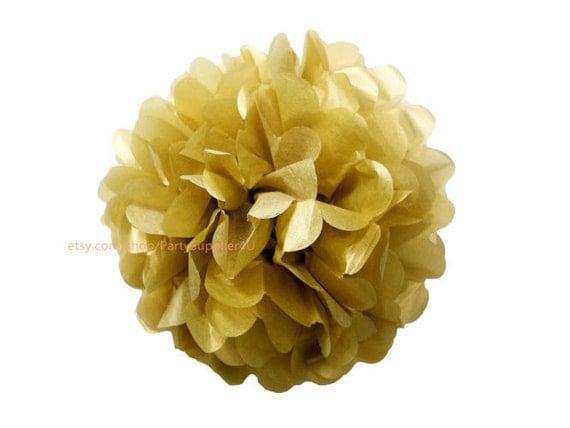 Metallic gold tissue paper pom poms large tissue paper flowers 14 il570xn mightylinksfo