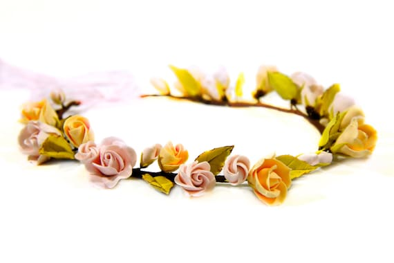 Handcrafted Clay Flowers - Hair Wreath of Roses