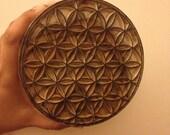 Wood Block Printing Hand Carved Indian Wood Textile Block Stamp Crystal Grid Seed of Life Tube Torus Flower of Life Stamp Sacred Geometry