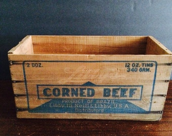 Old Wooden Libby's Corned Beef Box
