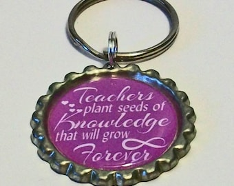 Purple Teachers Plant Seeds of Knowledge That Will Grow Forever Metal Flattened Bottlecap Keychain Great Gift