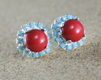 Red coral and turquoise earrings,Red coral earrings,Red and turquoise earrings,Red pearl earrings,Red coral stud earring,Swarovski red coral
