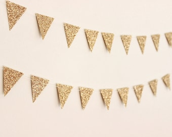 Gold Glitter Flag Garland. Wedding - Engagement - Birthday - Wall Decor - Table Decoration.